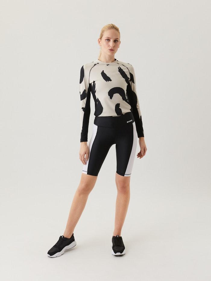W Borg Stripe Bike Shorts